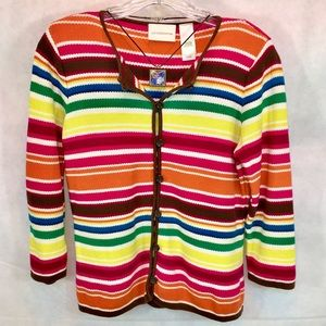 LIZ CLAIBORNE Rainbow Color Buttoned Up Cardigan